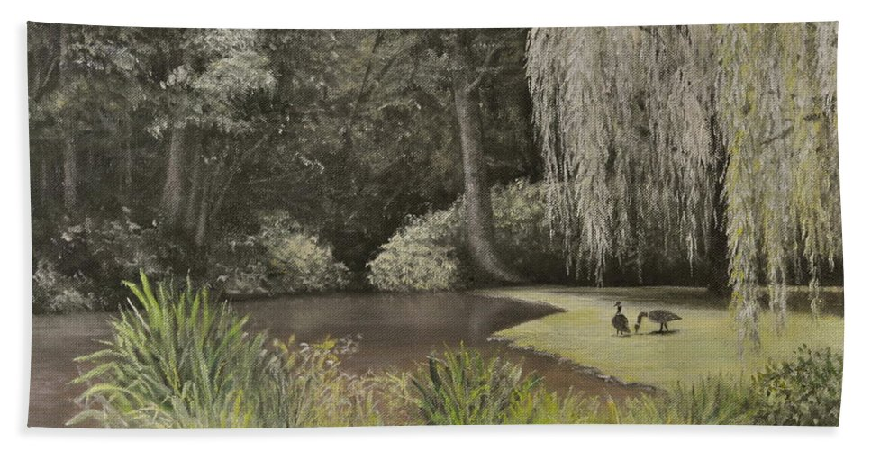 Jennerstown Mountain Playhouse Bath Sheet featuring the painting Lakeside at Mountain Playhouse by Penny Neimiller