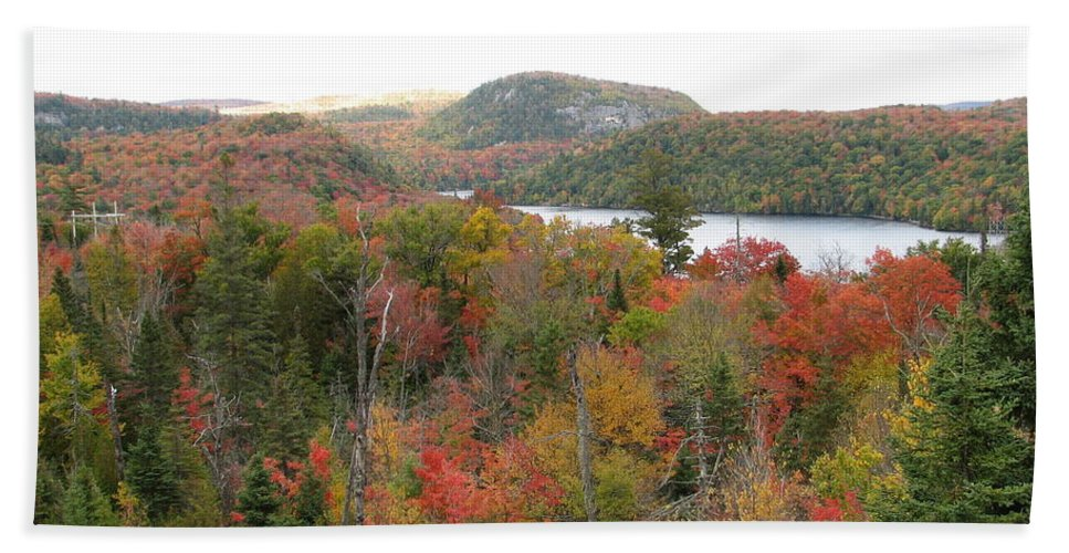 Fall Hand Towel featuring the photograph Lakeside by Kelly Mezzapelle
