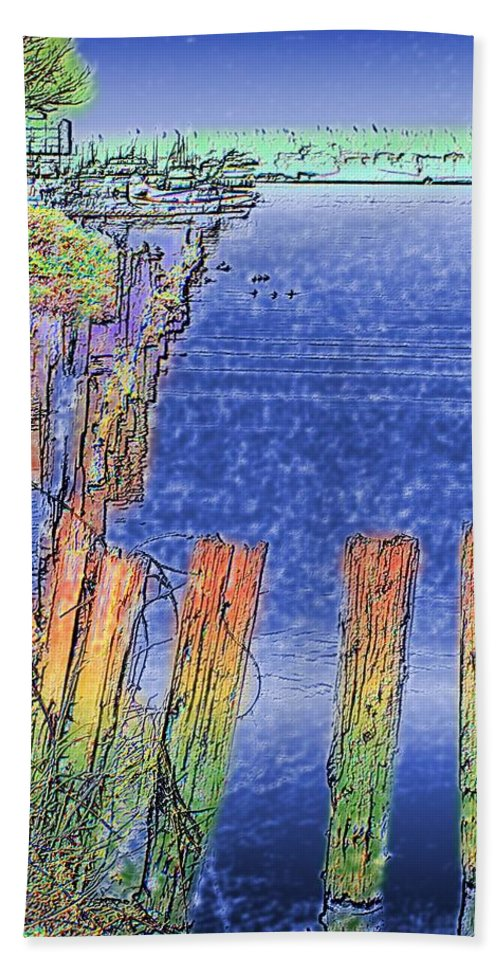 Seattle Hand Towel featuring the photograph Lakeside Pilings by Tim Allen