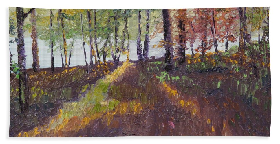 Landscape Hand Towel featuring the painting Lakeside Shadows by Lea Novak