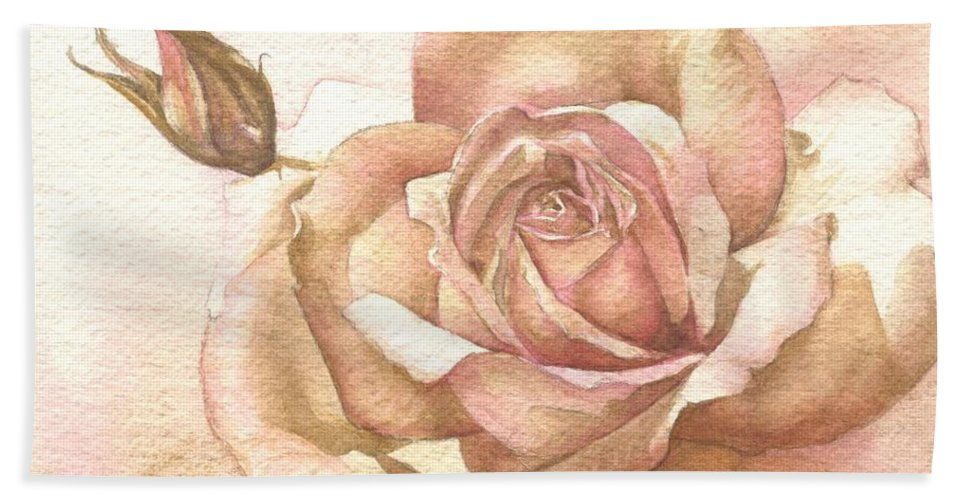 Rose Pink Flower Bath Sheet featuring the painting Lalique Rose by Sandra Phryce-Jones