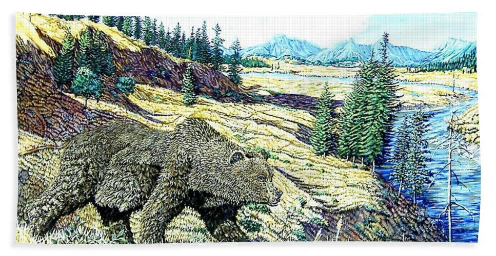 Wildlife Hand Towel featuring the painting Lamar Valley Grizz by Wayne Monninger