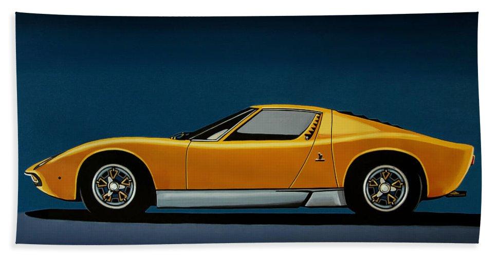 Lamborghini Miura Bath Towel featuring the painting Lamborghini Miura 1966 Painting by Paul Meijering