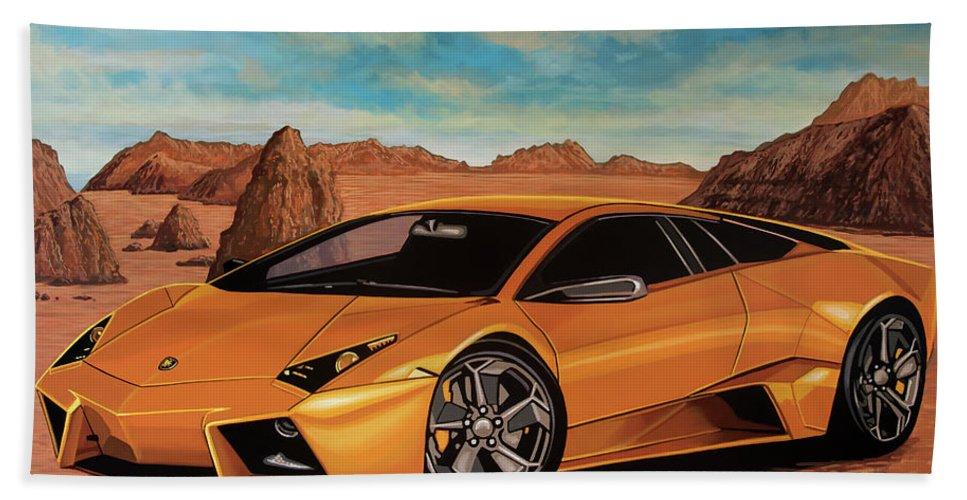 Lamborghini Reventon Hand Towel featuring the painting Lamborghini Reventon 2007 Painting by Paul Meijering