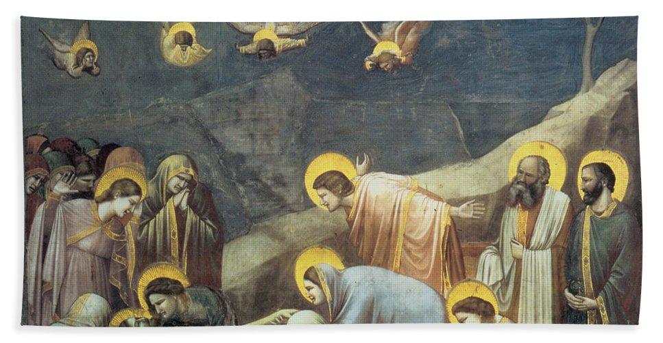 Lamentation Of Christ Bath Sheet featuring the painting Lamentation Of Christ by Giotto