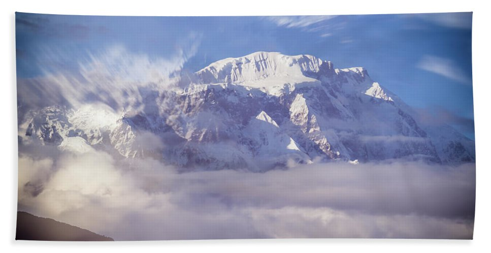 Asia Bath Sheet featuring the mixed media Lamjung Himal Peak Above The Clouds by Yuka Ogava