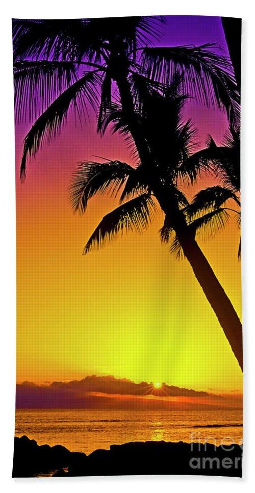 Sunset Bath Towel featuring the photograph Lanai Sunset II Maui Hawaii by Jim Cazel