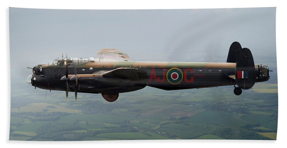 617 Squadron Hand Towel featuring the digital art Lancaster Aj-g Carrying Upkeep by Gary Eason