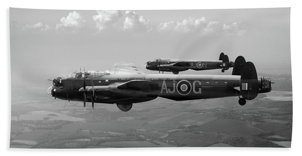 617 Squadron Hand Towel featuring the photograph Lancasters Aj-g And Aj-n Carrying Upkeeps Black And White Versio by Gary Eason