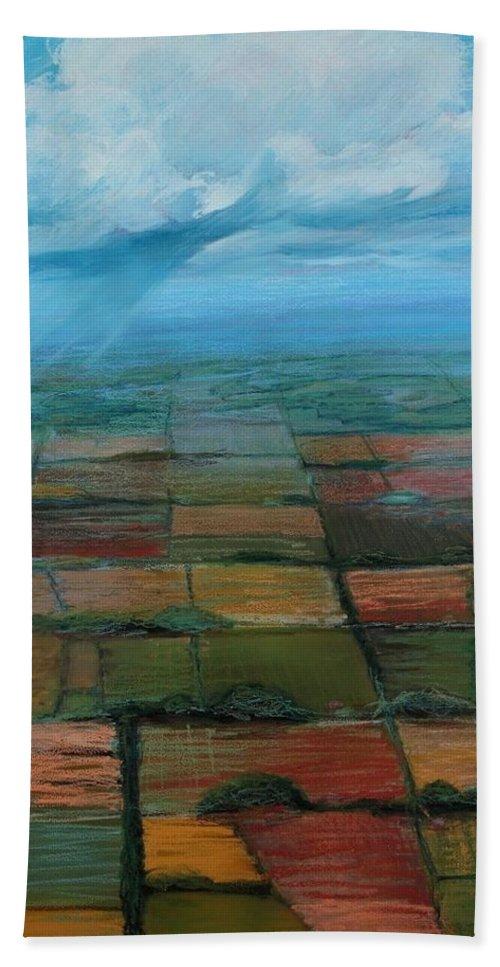 Sandra Hansen Bath Sheet featuring the painting Land Art by Art Nomad Sandra Hansen