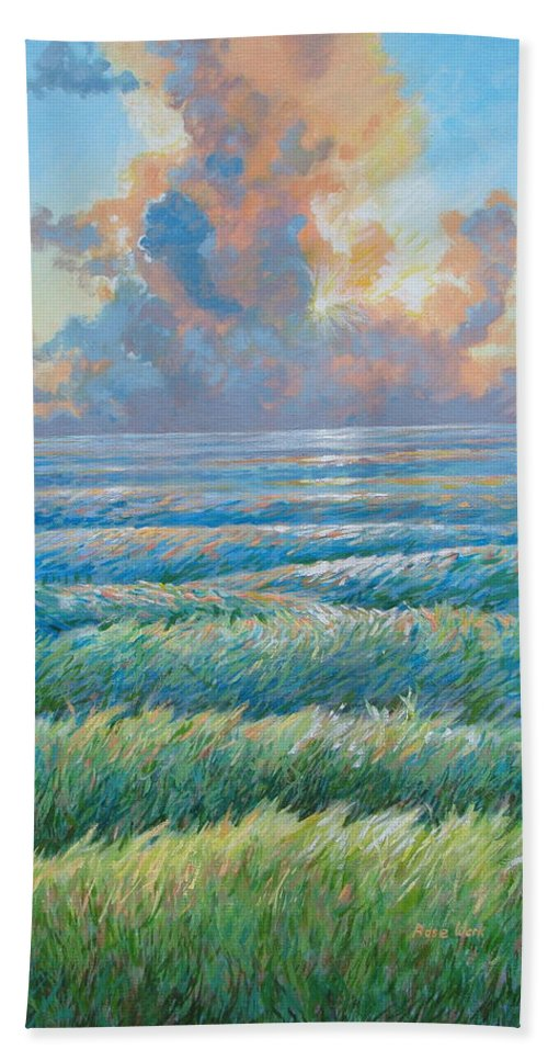 Sunset Bath Sheet featuring the painting Land Becoming Sea Iv by Rose Wark