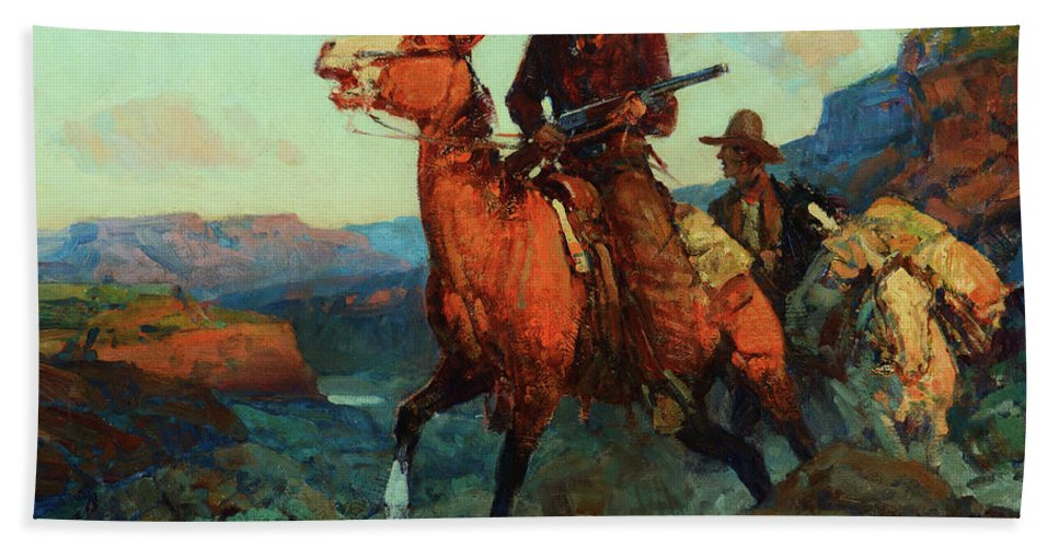 America Bath Sheet featuring the painting Land Beyond The Law by Frank Tenney Johnson
