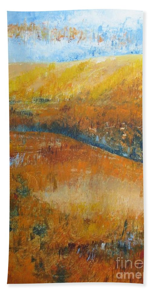 Landscape Bath Sheet featuring the painting Land Of Richness by Stella Velka