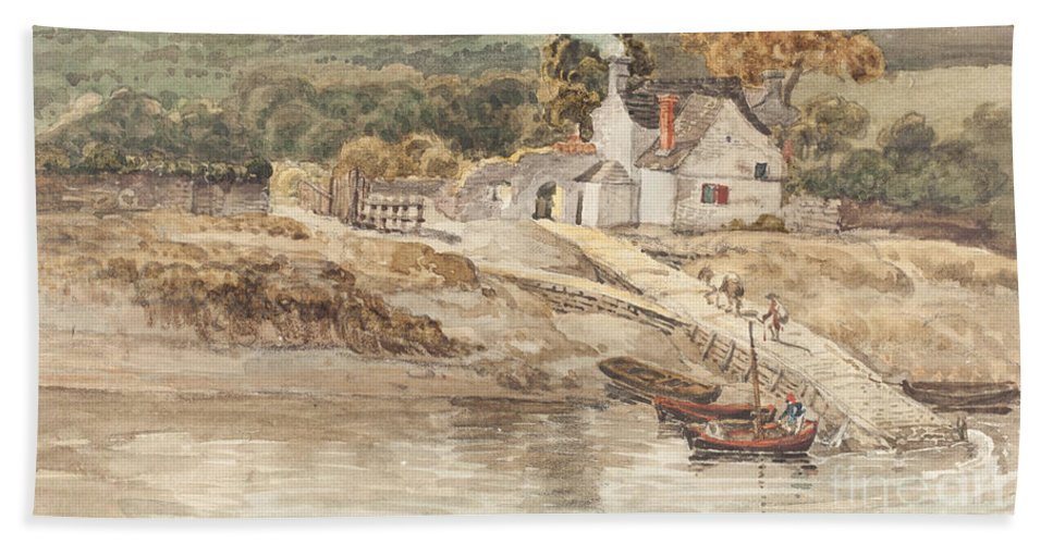 Hand Towel featuring the drawing Landing Place Near Tintern Abbey by James Ward