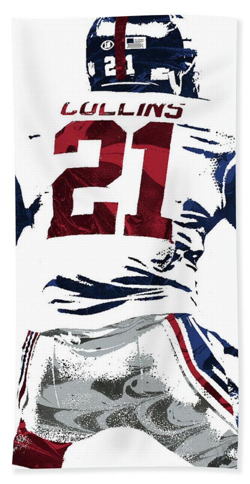 Landon Collins Bath Towel featuring the mixed media Landon Collins New York Giants Pixel Art 1 by Joe Hamilton