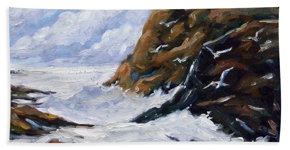 Art Bath Sheet featuring the painting Lands End by Richard T Pranke