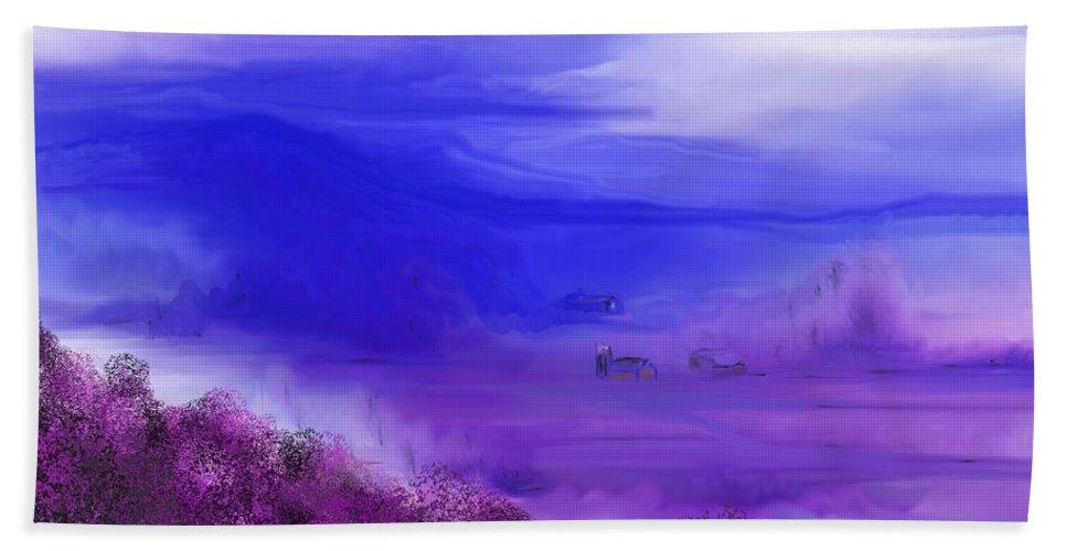 Fine Art Bath Sheet featuring the digital art Landscape 081610 by David Lane