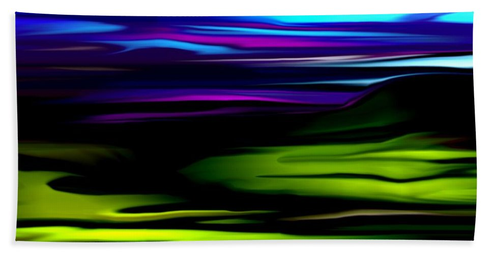 Abstract Expressionism Bath Towel featuring the digital art Landscape 8-05-09 by David Lane