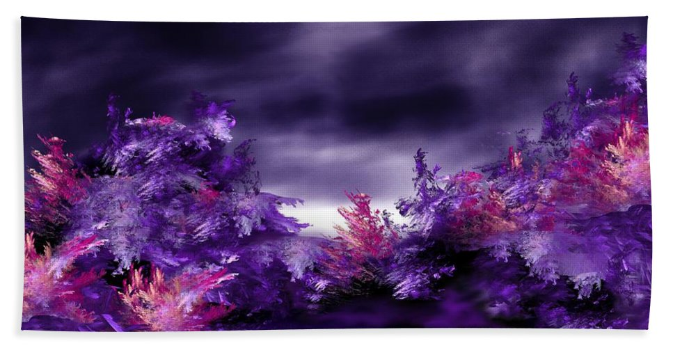 Abstract Digital Painting Bath Towel featuring the digital art Landscape 9-26-09 by David Lane