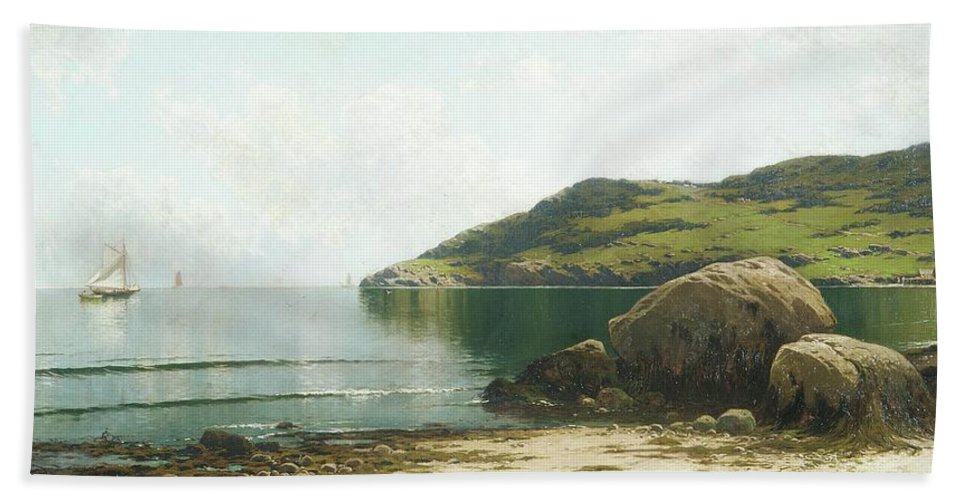 Marine Landscape By Alfred Thompson Bricher Bath Sheet featuring the painting Landscape by Alfred Thompson
