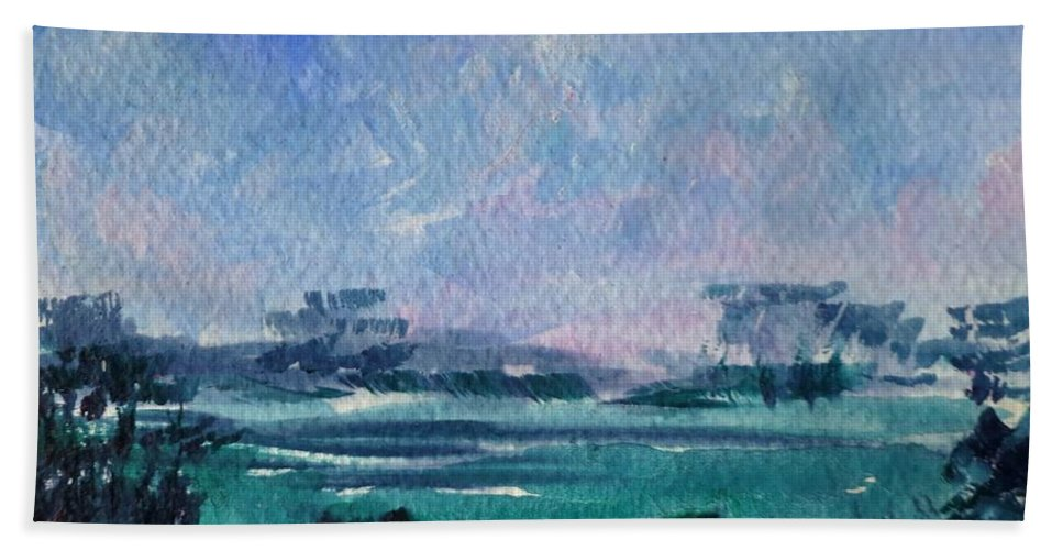 Landscape Hand Towel featuring the painting Landscape by Angelina Whittaker Cook