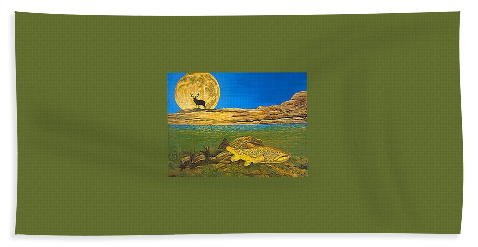 Artwork Bath Towel featuring the painting Landscape Art Fish Art Brown Trout TIMING Bull Elk Full Moon Nature Contemporary Modern Decor by Patti Baslee