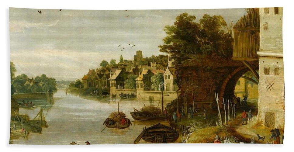 Philippe De Momper (antwerp 1598 - Antwerp 1634) Bath Sheet featuring the painting Landscape By A Riverside Town by Philippe de Momper