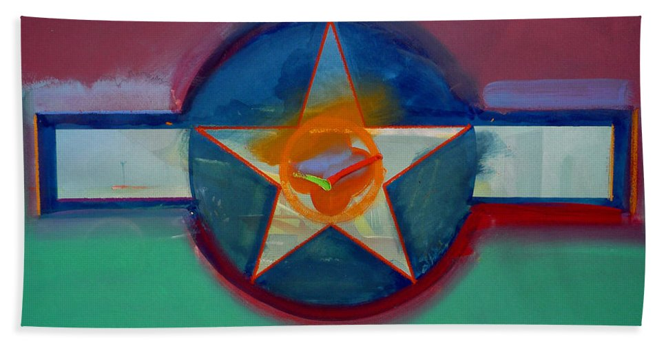 Star Bath Towel featuring the painting Landscape In The Balance by Charles Stuart