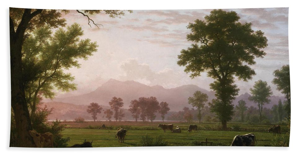 Robert Zuend Hand Towel featuring the painting Landscape Near Lucerne With View To Mount Rigi by Robert Zuend
