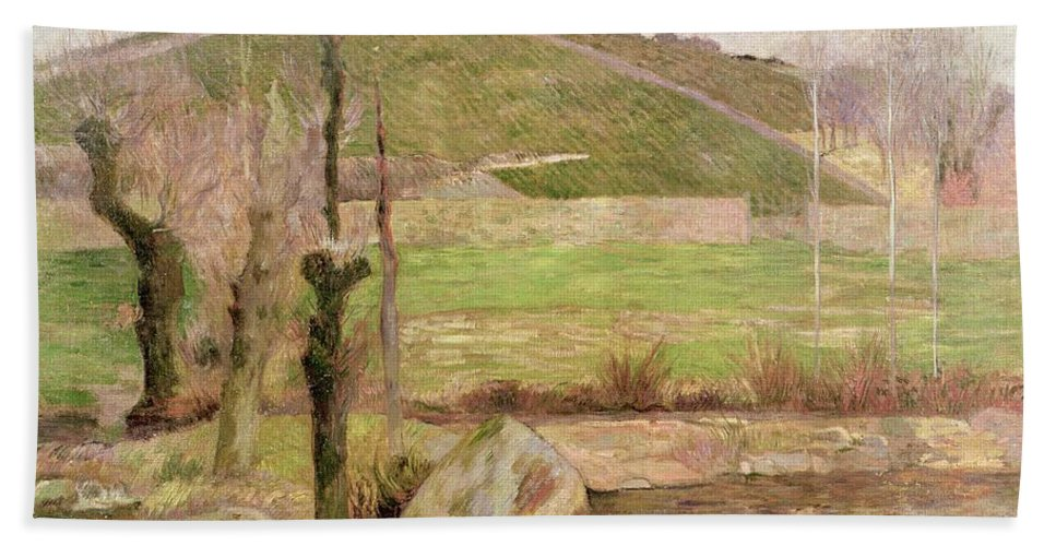 Landscape Near Pont-aven Hand Towel featuring the painting Landscape Near Pont Aven by Paul Gauguin