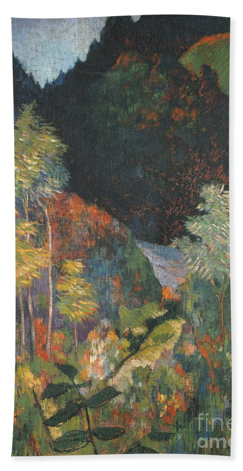 Landscape (oil On Canvas) By Paul Gauguin (1848-1903) Hand Towel featuring the painting Landscape by Paul Gauguin