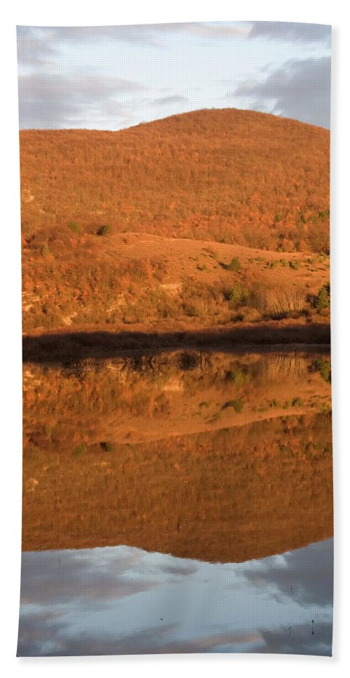Travel Bath Sheet featuring the photograph Landscape Perfectly Reflected In Palsko Lake by Ian Middleton