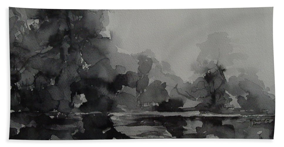 Value Hand Towel featuring the painting Landscape Value Study by Robin Miller-Bookhout