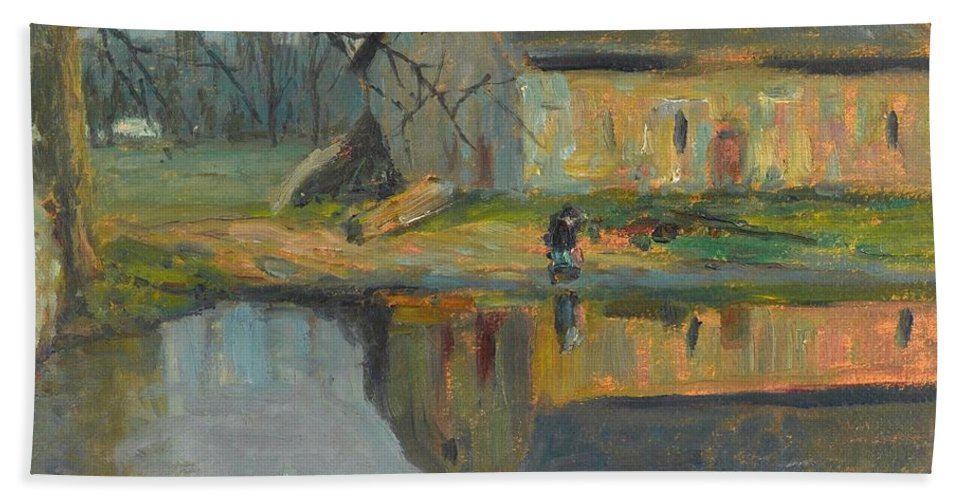 Konstantin Semeonovich Visotsky (moscow 1864 - Riga 1938) Bath Sheet featuring the painting Landscape With A Barn by Visotsky