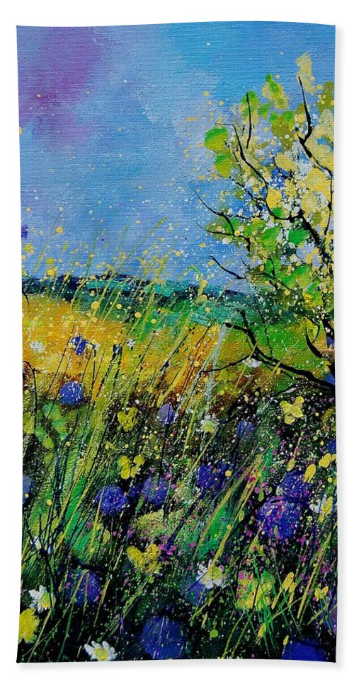 Flowers Bath Towel featuring the painting Landscape With Cornflowers 459060 by Pol Ledent
