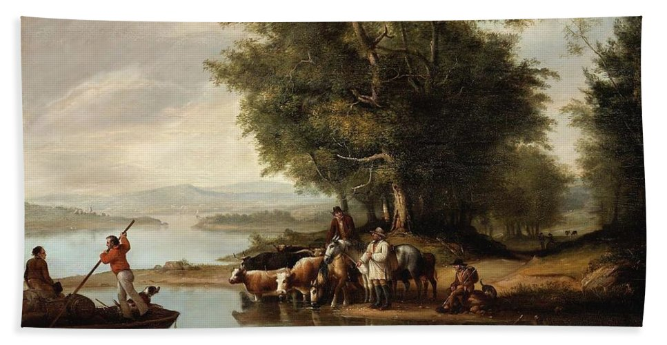 Landscape With Cows Bath Sheet featuring the painting Landscape With Cows by MotionAge Designs