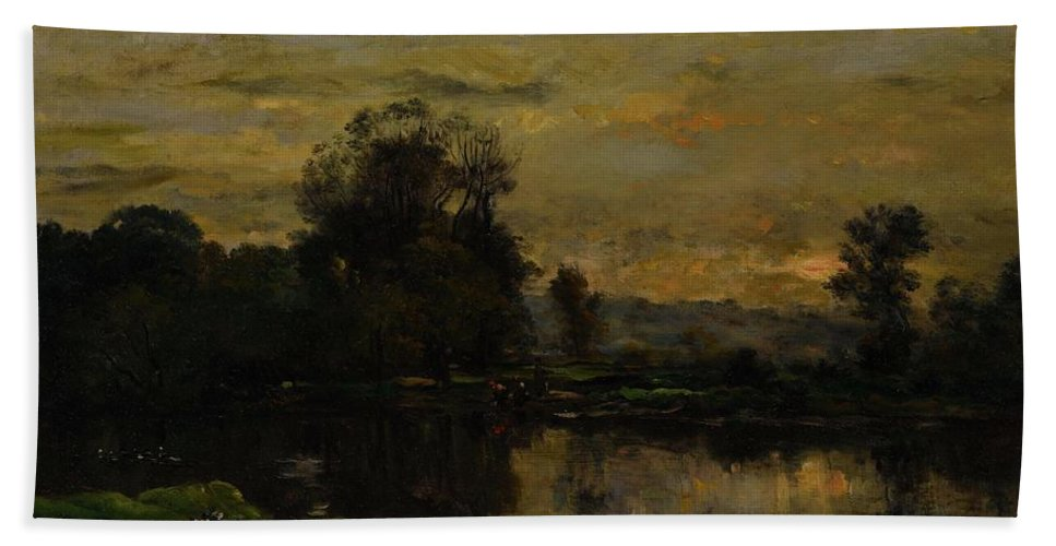 Landscape With Ducks Bath Sheet featuring the painting Landscape With Ducks by Charles