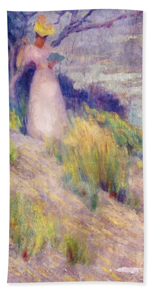 Landscape Bath Sheet featuring the painting Landscape With Figure In Pink by Henri Robert