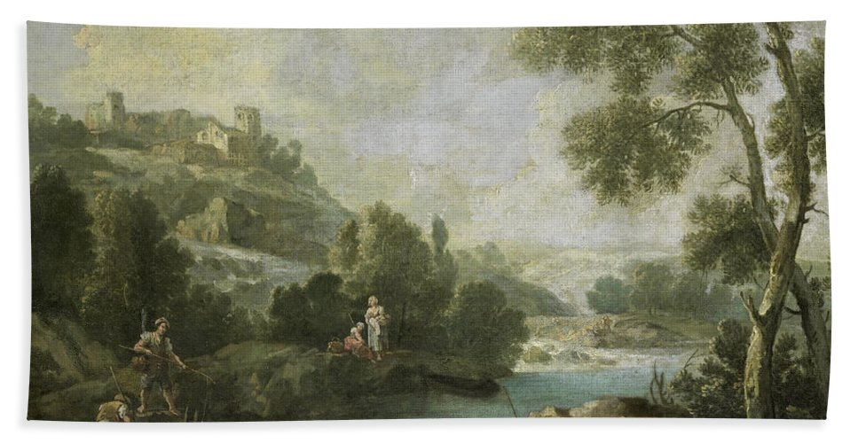Attributed To Giuseppe Zais Bath Sheet featuring the painting Landscape With Figures by Attributed to Giuseppe Zais