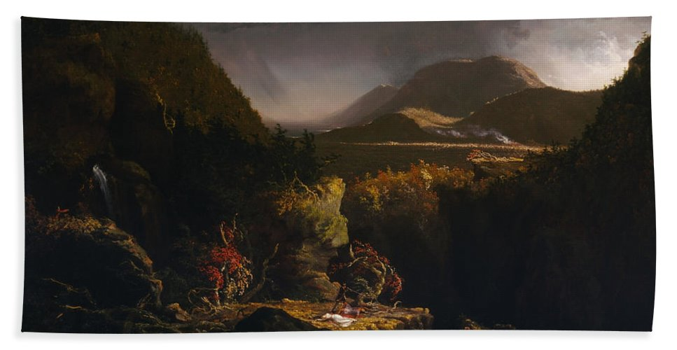 Thomas Cole Bath Sheet featuring the painting Landscape With Figures by Thomas
