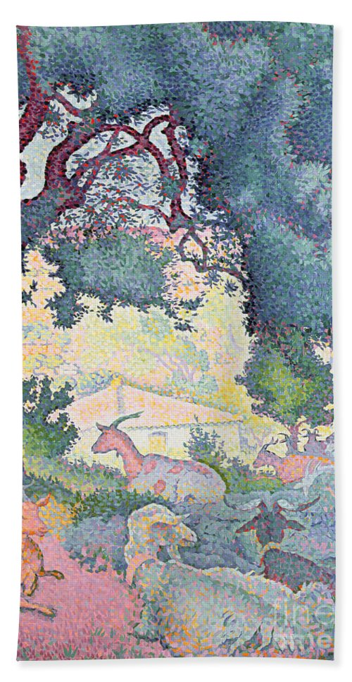 Landscape With Goats Bath Towel featuring the painting Landscape with Goats by Henri-Edmond Cross