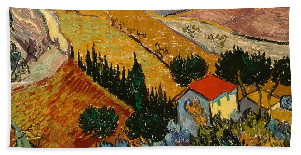 Landscape Bath Towel featuring the painting Landscape With House And Ploughman by Vincent Van Gogh