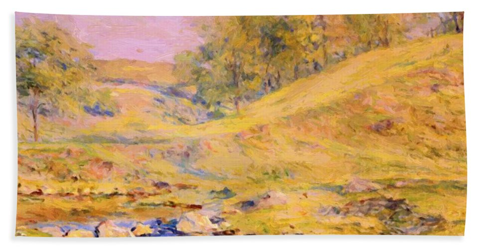 Landscape Hand Towel featuring the painting Landscape With Stream by Reid Robert Lewis