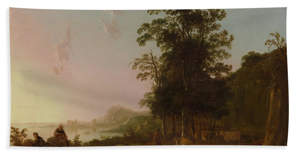 Landscape With The Flight Into Egypt Hand Towel featuring the painting Landscape With The Flight by Aelbert Cuyp