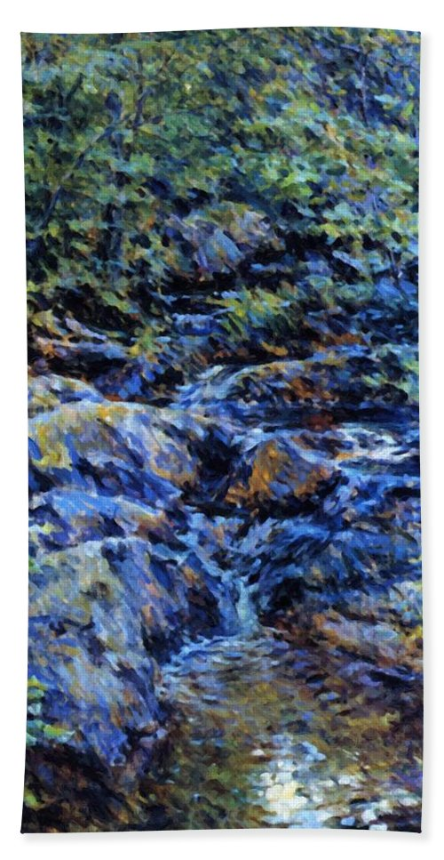 Landscape Hand Towel featuring the painting Landscape With Waterfall 1890 by Reid Robert Lewis