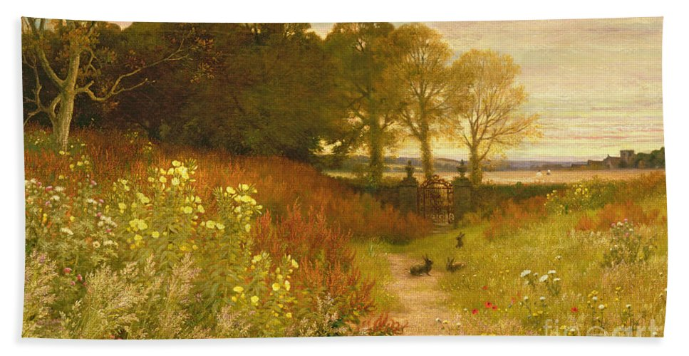 Landscape Bath Towel featuring the painting Landscape With Wild Flowers And Rabbits by Robert Collinson