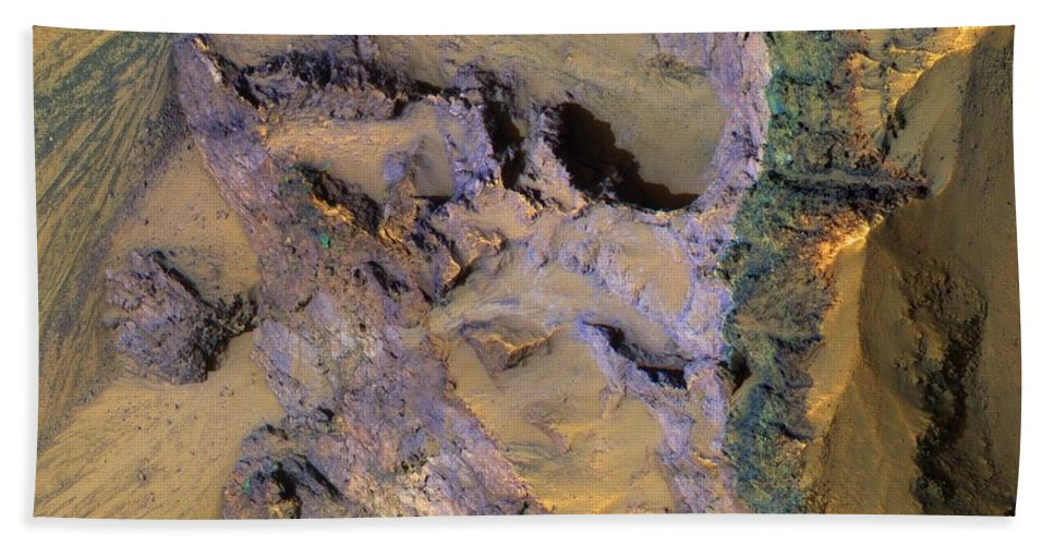 Colorful Bedrock Exposed In A Landslide Scarp In Valles Marineris In Mars Bath Sheet featuring the painting Landslide by MotionAge Designs
