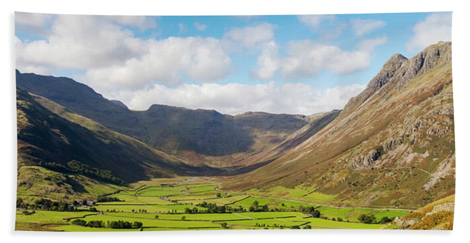 Langdale Bath Sheet featuring the photograph Langdale Fell And Pikes Panorama by Joseph Clemson