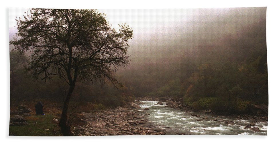 Tree Bath Towel featuring the photograph Langtang Morning by Patrick Klauss