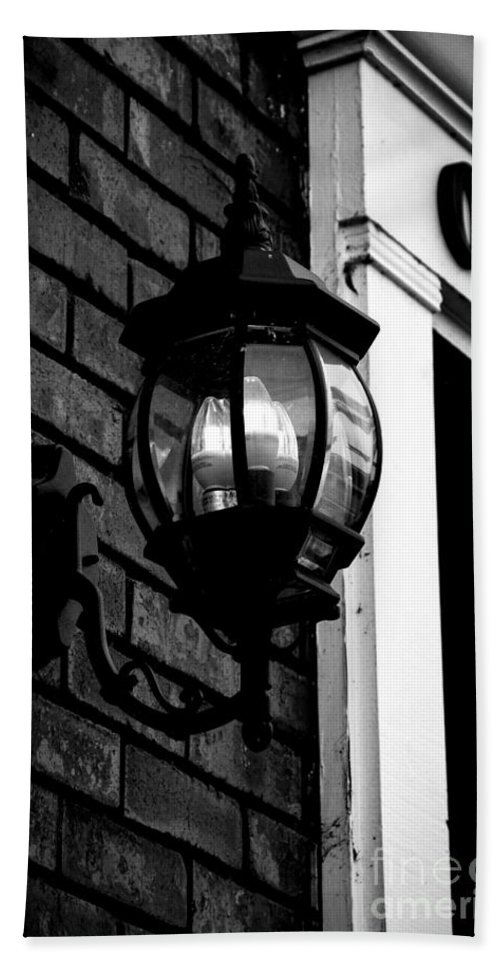 Nashville Hand Towel featuring the photograph Lantern Black And White by Marina McLain